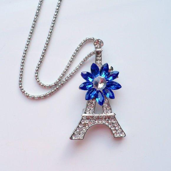 ❤️ Rhinestone Eiffel Tower Necklace & Pin
